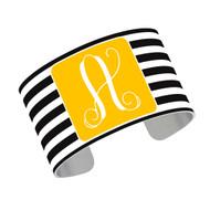 Cuff Bracelet - Black Stripe with Gold