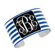 Cuff Bracelet - Royal Blue Stripe with Black
