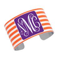 Cuff Bracelet - Orange Stripe with Purple