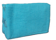Large Waffle Weave Cosmetics Bag - Tropical Blue