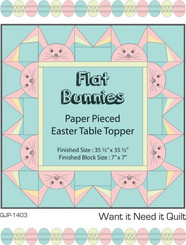 "Flat Bunnies Paper Pieced Table Topper - Digital Pattern. Dress up your table for Easter with these cute bunnies. For experienced quilters with knowledge of Applique, Paper Piecing (Foundation Piecing) and Embroidery. Finished topper 35 ½"" x 35 ½"" Finished Block Size 7"" x 7"""