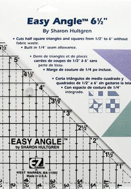 "8823759A EZ Quilting Tools Easy Angle Acrylic Tool, 6-1/2""  EZ Quilting by Simplicity. 6-1/2"" Easy Angle quilting template allows for easy cutting of triangles, squares and attic window quilt designs from one strip of fabric. Cut 1/2"" to 6"" half triangles designs.  Tutorial found here : https://www.simplicity.com/t-tutorials-quilting-Easy-Angle.aspx"
