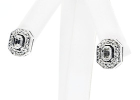 14K White Gold Emeral Cut Diamond Earrings 41000074