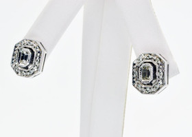 14K White Gold Octagon Diamond Earrings 41000074