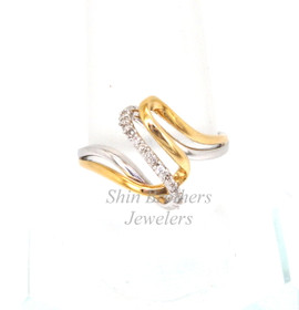 11001182 14K Two Toned Gold Diamond Looped Ring