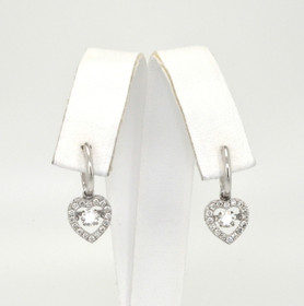 41060574 14K White Gold Rhythm of Love Diamond Heart Huggies Earrings