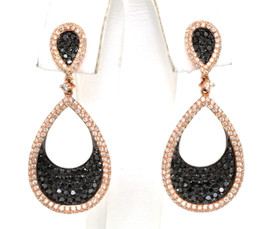 41060599 14K Pink Gold Black/White Diamond Earrings
