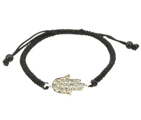 Silver Marcasite Hand of God Adjustable Black Silk Rope Bracelet