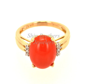 12002165 14K Yellow Gold Coral/Diamond Ring