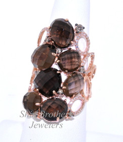 14K Pink Gold Diamond Smokey Topaz Ring