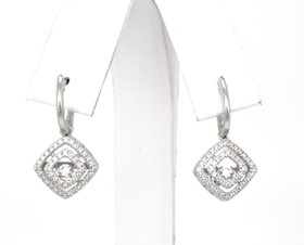 84010262 Sterling Silver Rhythm of Love CZ Square Drop Earrings