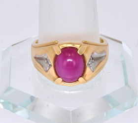 12001347 14K Two Tone Gold Diamond and Pink Sapphire Men's Ring
