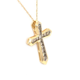 51001591 14K Yellow Gold Diamond Cross