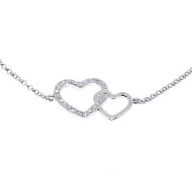 21000460  18K White Gold Diamond Heart Bracelet