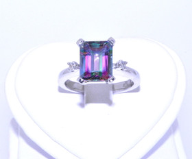 12002195  14K White Gold Mystic Topaz Emerald Cut Diamond Ring