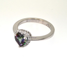 12002197 14K White Gold Heart Shape Mystic Topaz Diamond Ring