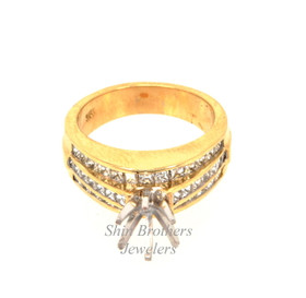 18K Yellow Gold Diamond Engagement Ring Settings