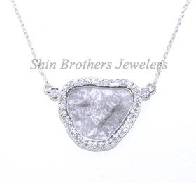 "14K White Gold Sliced Diamond Pendant With 16"" Link Chain 31000461"