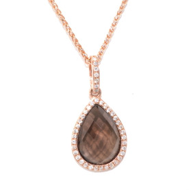 14K Pink Gold Diamond Pear Shape Smokey Topaz pendant 52001540