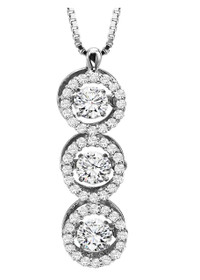 31000466 14k White Gold Rhythm of Love Diamond Circle Drop Pendant