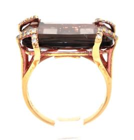 18K Yellow Gold Smokey Topaz/Diamond Ring 11003792