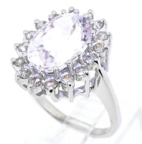 12002201 14K White Gold Morganite/Diamond Ring