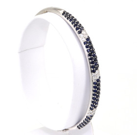 21000324 14K White Gold Sapphire & Diamond Bangle