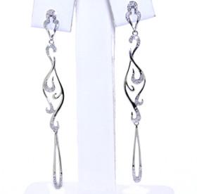 14K White Gold Diamond Drop Earrings 41060612