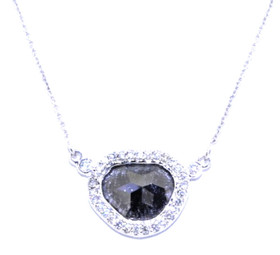 "14K White Gold Sliced Diamond Pendant With 17"" Link Chain 32000366"