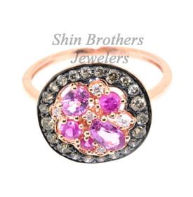 12002200 14K Pink Gold Diamond/Pink Sapphire Ring