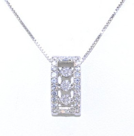 Sterling Silver Rhythm of Love CZ Rectangular Necklace 83010442