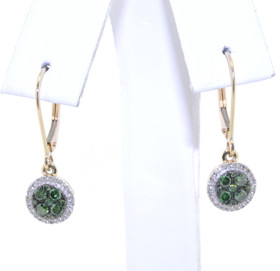 14K Yellow Gold Green & White Diamond Lever Back Earrings 41060620