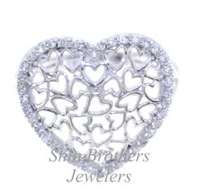 11003771 14K White Gold Diamond Heart Ring