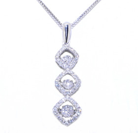 83210014 Sterling Silver  Rhythm Of Love CZ Tri Square Drop Pendant with Chain