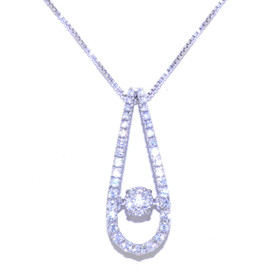 Sterling Silver Rhythm of Love CZ Drop Link Necklace 83210022