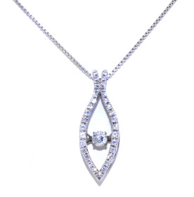 Sterling Silver Rhythm of Love CZ Drop Link Necklace 83210028