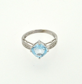 10K White Gold 1.2ctw Blue Topaz and Diamond Ring 19000157