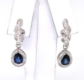 18K White Gold Diamond and 1.5ctw Sapphire Hanging Earrings 42001100