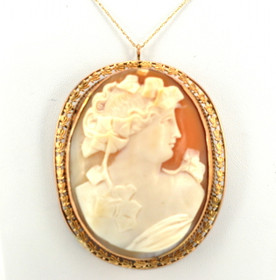 14K Yellow Gold Cameo Pendant/Pin 52001449