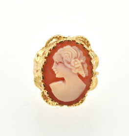 14K Yellow Gold Oval Cameo Ring 12002087