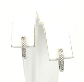 14K White Gold Diamond Hoop Earrings 41060493