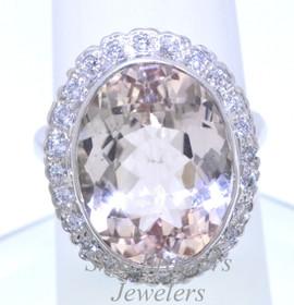 14K White Gold Diamond & Morganite Ring 12002203