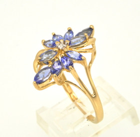 14K Yellow Gold Intricate Tanzanite and Diamond Ring 12002167