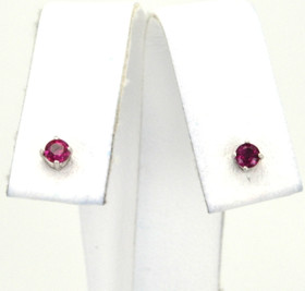 14K White Gold 0.32ct Ruby Screw Back Stud Earrings 42002117