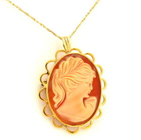 14K Yellow Gold Oval Cameo Bordered Charm/Pin 52001473