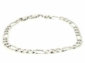 """14K White Gold 8.75"""" Figaro Bracelet 20001189"""