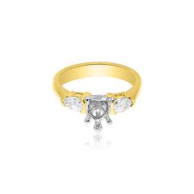 14K Yellow Gold Heart shape Diamond Engagement Ring Setting