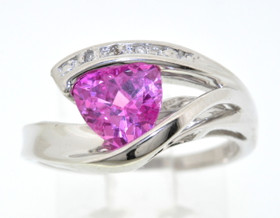 14K White Gold Diamond and Synthetic Pink Stone Ring 19210033
