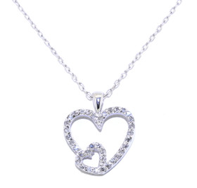 "14K White Gold Diamond Heart Pendant with 16"" Cable Chain 31000453"