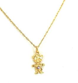14K Yellow Gold Pink Birthstone Girl Charm 52001474